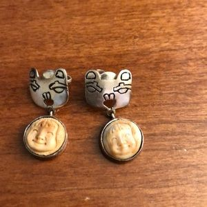 Jewelry - Handcrafted Silver Cat Earrings